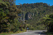 """State Highway 6, crossing the Pororari River gorge near Punakaiki. A sign amidst the rainforest reads: """"Hotel 300m on right""""."""