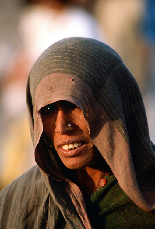 A woman with her head covered by a veil and with a jewel stud in her nose, Delhi, India