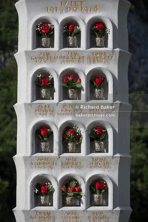 The names of local men killed during WW1, in a rural Slovenian village church, on 18th June 2018, in Bohinjska Bela, Bled, Slovenia.