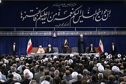 Handout photo - Iranian President Hasan Rouhani (2R) speakes during his swearing in ceremony as Parliament Speaker Ali Larijani (R), supreme leader Ayatollah Ali Khamenei (C), Judiciary Chief Sadeq Larijani (2R) and Iran's head of the Assembly of Experts, Ahmad Jannati (L) listen on in Tehran, Iran, on August 3, 2017. Rouhani vowed to continue his efforts to end the country's isolation as he was sworn in by supreme leader Ayatollah Ali Khamenei to serve his second term following his re-election in May. Photo via Parspix/ABACAPRESS.COM