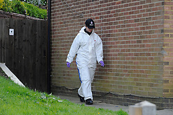 © Licensed to London News Pictures. 16/04/2012.The garden of a house is being searched by police in Kent investigating reports that human remains may be buried there. The detailed forensic examination of the garden of the three-bedroom semi-detached property in Rankine Road, Tunbridge Wells, began today 16th April 2012. Photo credit : Grant Falvey/LNP