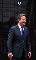 The British Prime Minister David Cameron greets Traian Basescu President of Romania on the steps of Number 10 Downing Street, Monday June 6, 2011. Photo By Andrew Parsons / i-Images.