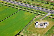 Nederland, Zuid-Holland, Zoeterwoude Rijndijk, 09-05-2013; autoweg N11 met daarnaast de vluchtschacht - nooduitgang - van de HSL boortunnel onder Het Groene Hart.<br /> Motorway N11 with emengency exit for high speed train tunnel.<br /> luchtfoto (toeslag op standard tarieven)<br /> aerial photo (additional fee required)<br /> copyright foto/photo Siebe Swart