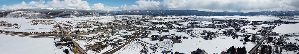 Aerial of Victor, Idaho