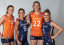10-05-2018 NED: Team shoot Dutch volleyball team women, Arnhem<br /> (L-R) Juliet Lohuis #7 of Netherlands, Myrthe Schoot #9 of Netherlands, Nicole Koolhaas #22 of Netherlands, Kirsten Knip #1 of Netherlands