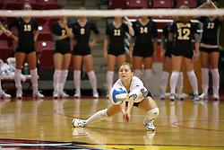 25 AUG 2007: Libero Brittany Malicoat crouches to get this dig. Illinois State defeated Valparaiso in 3 straight games to take the match with a shut out. The Valparaiso Crusaders visited the Illinois State Redbirds on Doug Collins Court in Redbird Arena on the campus of Illinois State University in Normal Illinois.