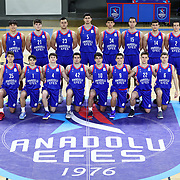 Anadolu Efes's players poses during the 2020-2021 Garanti BBVA BGL Media Day at the Anadolu Efes Sports Hall on February 02, 2021 in İstanbul, Turkey. Photo by Aykut AKICI/TURKPIX