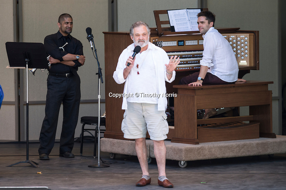 """Mark Morris prepares the audience for participation in Carl Ruggles' """"Exaltation"""" at Libbey Bowl on June 9, 2013 in Ojai, California."""