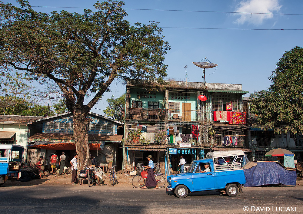 A street scenery in front of our guesthouse in Yangon.