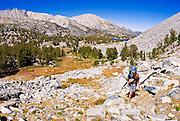 Backpacker in Little Lakes Valley, John Muir Wilderness, Sierra Nevada Mountains, California