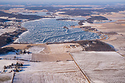 Aerial view of rural Dane County, Wisconsin in the winter on an overcast day, including Crystal Lake and Fish Lake (background).