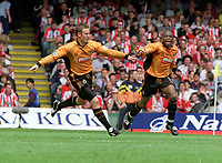 Kenny Miller (Wolves) celebrates scoring goal no.3 with Shaun Newton. Wolverhampton Wanderers v Sheffield United. Division One play off Final @ Cardiff's Millennium Stadium. 26/5/2003. Credit : Colorsport/Andrew Cowie.