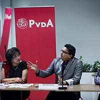 Nederland, Amsterdam , 27 september 2013.<br /> PvdA Lijsttrekkersdebat in de EBG kerk in Amsterdam Zuid Oost.<br /> v.l.n.r. Ernestine Comvalius, Narish Parsan en Muriel Dalgliesh.<br /> Foto:Jean-Pierre Jans