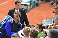 Rafael Nadal (ESP) signs autographs for his fans during the preminarly rounds of the Roland Garros Tennis Open 2017 at Roland Garros Stadium, Paris, France on 2 June 2017. Photo by Jon Bromley.