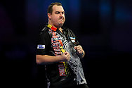Kim Huybrechts wins the first set and celebrates during the World Darts Championships 2018 at Alexandra Palace, London, United Kingdom on 19 December 2018.