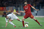Laurent Depoitre of KAA Gent and Federico Fazio of AS Roma during the UEFA Europa League match between Roma and Gent at Stadio Olimpico,Thursday, Feb. 20, 2020, in Rome, Italy.(Luca Pagliaricci/Image of Sport)