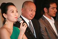 Zhang Ziyi, John Woo, Takeshi Kaneshiro, at Press Conference for John Woo's forthcoming film The Crossing, Saturday 17th May 2014, Cannes, France.