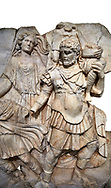 Detail of a Roman Sebasteion relief  sculpture of Aineas' flight from Troy, Aphrodisias Museum, Aphrodisias, Turkey.  <br /> <br /> Aineas in armour carries his aged farther Anchises on his shoulders and leads his young son Lulus by his hand. They are fleeing from the sack of Troy. The figure floating behind is Aphrodite, Aineas' mother: she is helping their escape. Old Anchises carries a round box that held images of Troy's ancestral gods. .<br /> <br /> If you prefer to buy from our ALAMY STOCK LIBRARY page at https://www.alamy.com/portfolio/paul-williams-funkystock/greco-roman-sculptures.html . Type -    Aphrodisias     - into LOWER SEARCH WITHIN GALLERY box - Refine search by adding a subject, place, background colour, museum etc.<br /> <br /> Visit our ROMAN WORLD PHOTO COLLECTIONS for more photos to download or buy as wall art prints https://funkystock.photoshelter.com/gallery-collection/The-Romans-Art-Artefacts-Antiquities-Historic-Sites-Pictures-Images/C0000r2uLJJo9_s0