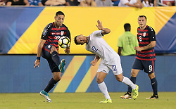 July 19, 2017 - Philadelphia, PA, USA - Philadelphia, PA - Wednesday July 19, 2017: Clint Dempsey, Narciso Orellana during a 2017 Gold Cup match between the men's national teams of the United States (USA) and El Salvador (SLV) at Lincoln Financial Field. (Credit Image: © John Dorton/ISIPhotos via ZUMA Wire)