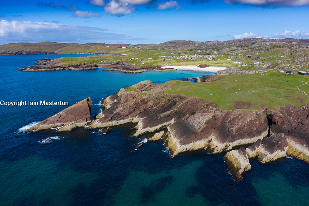 Aerial view of sea cliffs at Clachtoll in Sutherland,  Highland Region of Scotland, UK