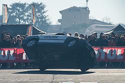 King of Italy car drifting exhibition at Motor Bike Expo. Verona, Italy. Sunday January 21, 2018. Photography ©2018 Michael Lichter.