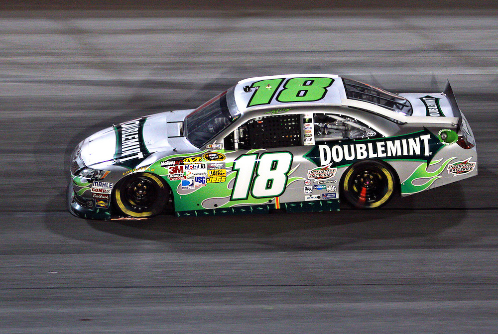 May 12, 2012; Darlington, SC, USA; NASCAR Sprint Cup driver Kyle Busch (18) during the Southern 500 at Darlington Raceway. Mandatory Credit: Peter Casey-US PRESSWIRE.