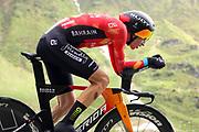 Radrennfahrer Gino Mäder anlässlich der Tour de Suisse 2021. Etappe 7 – Zeitfahren Sedrun-Oberalppass-Andermatt. Fotostandort Selva, 12. Juni 2021.