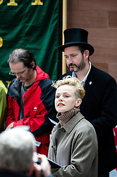 Maxine Peake addresses the Peterloo Massacre 195th Anniversary Commemorative March and Rally that ended in Manchester City centre. 2014
