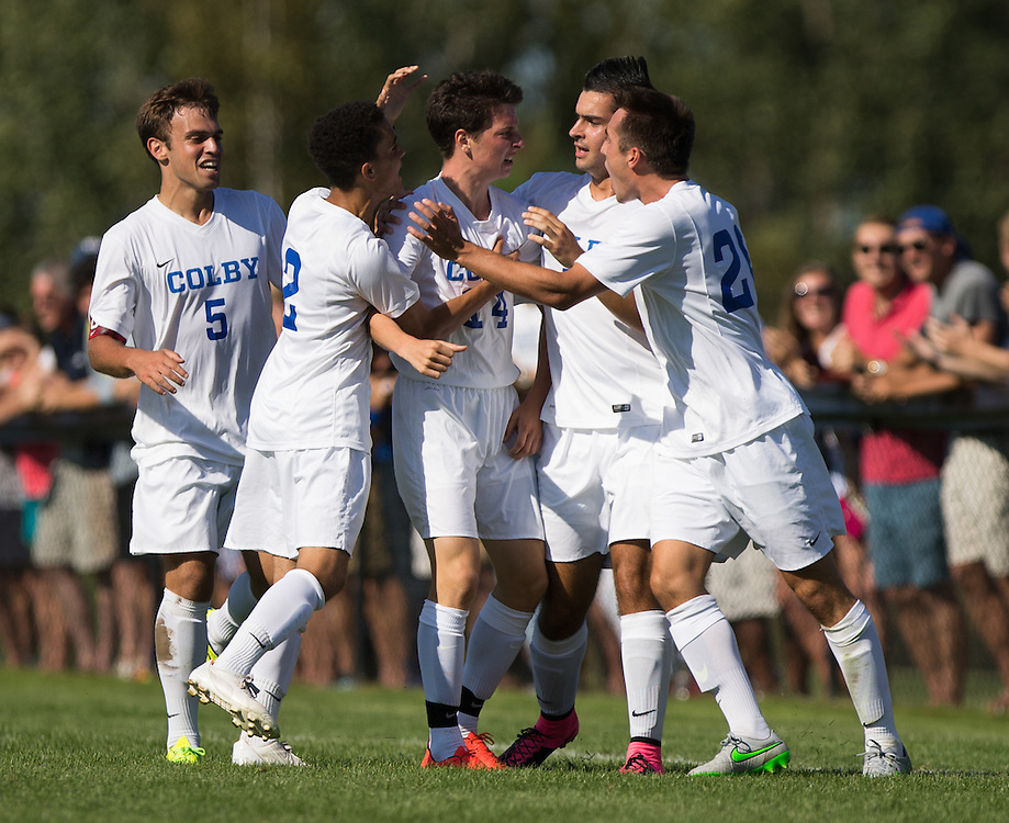 David Howarth and Jeffrey Rosenberg of Colby College celebrates Rosenberg's goal during a NCAA Division III soccer game against Williams College on September 19, 2015 in Waterville, ME. (Dustin Satloff/Colby College Athletics)