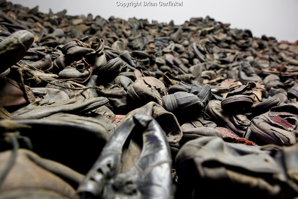 An exhibit with example shoes that were left behind by victims in Auschwitz Concentration Camp in Poland on Tuesday July 5th 2011.  (Photo by Brian Garfinkel)