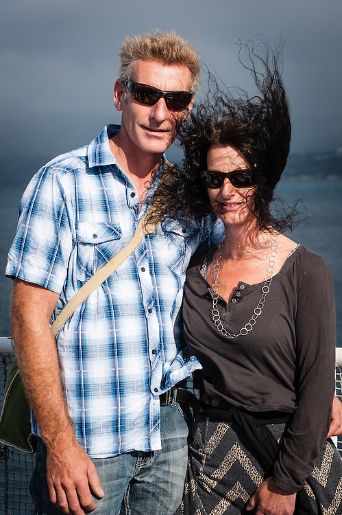 Wellington, NEW ZEALAND - January 17: A Couple enjoy their trip on the Interislander Kaitaki traveling to Picton January 17, 2015 in Wellington, New Zealand.  REAL PEOPLE.  (Photo by Elias Rodriguez/ real-people.co.nz)