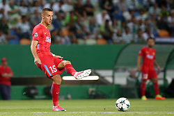 August 15, 2017 - Lisbon, Portugal - Steaua's defender Marko Momcilovic from Serbia in action during the UEFA Champions League play-offs first leg football match between Sporting CP and FC Steaua Bucuresti at the Alvalade stadium in Lisbon, Portugal on August 15, 2017. (Credit Image: © Pedro Fiuza/NurPhoto via ZUMA Press)