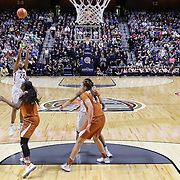 UNCASVILLE, CONNECTICUT- DECEMBER 4: Napheesa Collier #24 of the Connecticut Huskies shoots for three during the UConn Huskies Vs Texas Longhorns, NCAA Women's Basketball game in the Jimmy V Classic on December 4th, 2016 at the Mohegan Sun Arena, Uncasville, Connecticut. (Photo by Tim Clayton/Corbis via Getty Images)