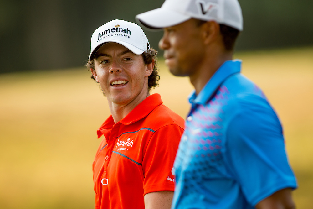FARMINGDALE, NY - AUGUST 24:  Tiger Woods and Rory McIlroy of Northern Ireland walk from the tee box during the second round of the 2012 Barclays at the Black Course at Bethpage State Park in Farmingale, New York on August 24, 2012. (Photograph ©2012 Darren Carroll) *** Local Caption *** Tiger Woods,Rory McIlroy