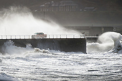 © London News Pictures. Aberystwyth,UK. 17/11/2016.<br /> Strong winds and waves batter the coastline. A tornado , with winds of over 80mph, reportedly tore through the town of Aberystwyth on the morning of Nov 17, bringing extensive damage in its wake.  Slates were blown off roofs, windows sucked out, and chimney stacks destroyed, Large  parts of the town have been closed to traffic and pedestrians because of the risk of further damage. Photo credit: Keith Morris/ LNP