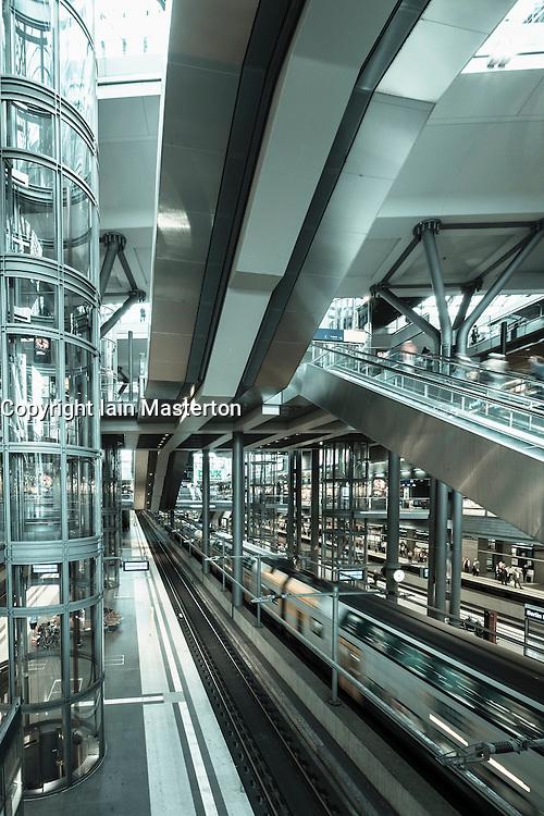 Interior of Hauptbahnhof or main railway station in Berlin Germany