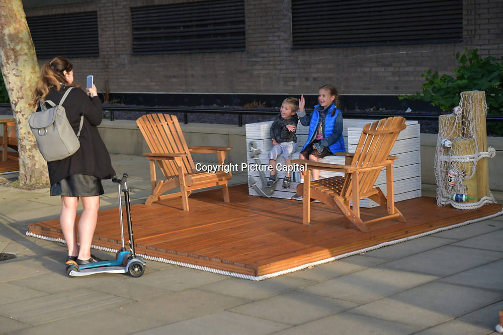 A boat exhibition at The Queen walk street Photography, on 28 June 2019, London, UK.