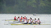 Bled, SLOVENIA,  GBR M4-. Bow, Alex PARTRIDGE, Rick EGINGTON, Alex GREGORY and Matt LANGRIDGE, winning their semi final of the men's four on the second day of the FISA World Cup, Bled. Held on Lake Bled.  Saturday  29/05/2010  [Mandatory Credit Peter Spurrier/ Intersport Images]