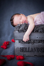 Close-Up of cute newborn baby girl sleeping on winebox, Fuerstenfeldbruck, Bavaria, Germany