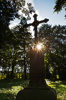 """Greek Orthodox cross on the old cemetery of Beniowa village, which was subject to """"ethnical cleansing"""" by Russians in 1946. Beniowa, Ukrainian border, Poland."""