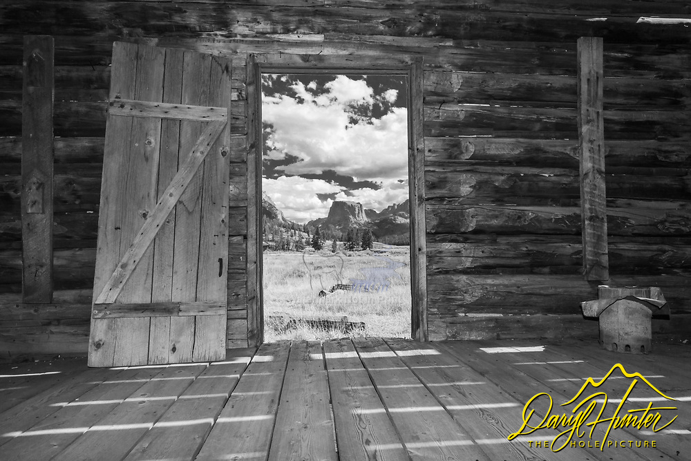 Inside looking out of a great old deserted homestead in the Wind River Mountains. It was a tough life here, but what a beautiful place to live.