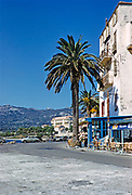Calvi, Corsica, France in late 1950s palm tree seafront buildings