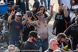 "Deidre and Kyle Shorey with Brian Elliott at Willie's Tropical Tattoo ""Chopper Time"" old school chopper show during Daytona Bike Week's 75th Anniversary event. Ormond Beach, FL, USA. Thursday March 10, 2016.  Photography ©2016 Michael Lichter."