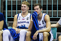 Goran Dragic and Luka Doncic of Slovenia during friendly basketball match between National teams of Slovenia and Hungary on day 1 of Adecco Cup 2017, on August 4th in Arena Tabor, Maribor, Slovenia. Photo by Grega Valancic/ Sportida