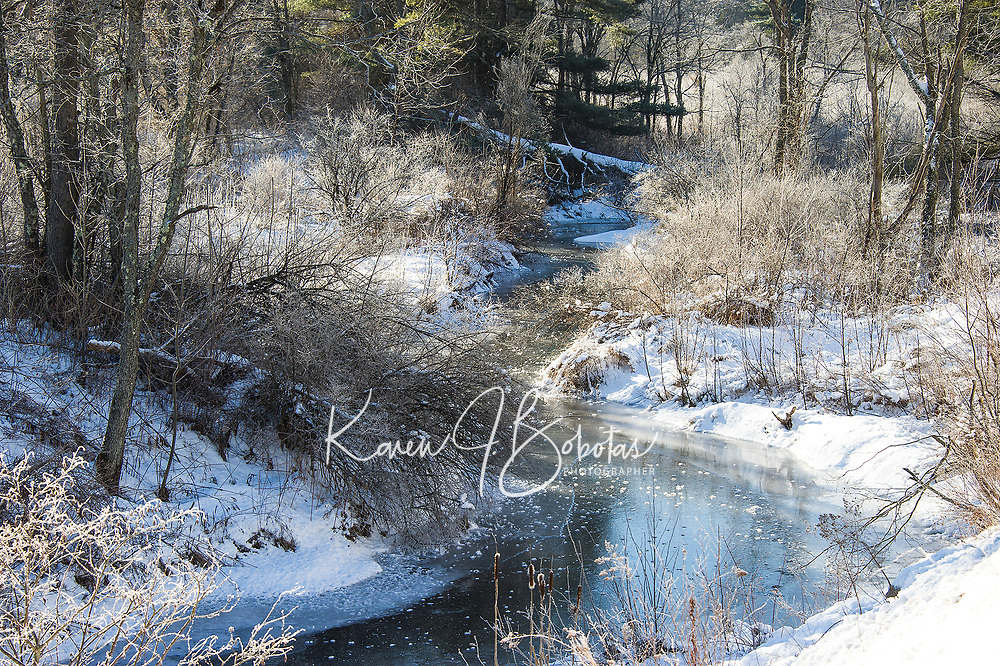 Into the deep freeze along Gilford Brook Monday morning.  (Karen Bobotas/for the Laconia Daily Sun)
