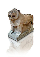 Late Hittite Basalt Portal Lion sculpture from 9th Cent B.C, excavated from Palace Building P Sam'al (Hittite: Yadiya) located at Zincirli Höyük in the Anti-Taurus Mountains of modern Turkey's Gaziantep Province. Istanbul Archaeological Museum inv. No 7777. .<br /> <br /> If you prefer to buy from our ALAMY STOCK LIBRARY page at https://www.alamy.com/portfolio/paul-williams-funkystock/hittite-art-antiquities.html - Type - Samal - into the LOWER SEARCH WITHIN GALLERY box. Refine search by adding background colour, place, museum etc<br /> <br /> Visit our HITTITE PHOTO COLLECTIONS for more photos to download or buy as wall art prints https://funkystock.photoshelter.com/gallery-collection/The-Hittites-Art-Artefacts-Antiquities-Historic-Sites-Pictures-Images-of/C0000NUBSMhSc3Oo