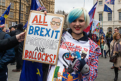 An anti-Brexit campaigner's poster alludes to all the main pro-Brexit positions as useless as MPs debate the Prime Minister's Brexit deal in the House of Commons across the street. London, January 15 2019.