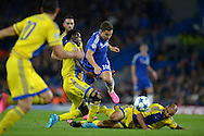 Eden Hazard of Chelsea is fouled by Nosa Igiebor of Maccabi Tel Aviv. UEFA Champions League group G match, Chelsea v Maccabi Tel Aviv at Stamford Bridge in London on Wednesday 16th September 2015.<br /> pic by John Patrick Fletcher, Andrew Orchard sports photography.