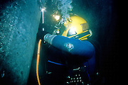 Alaska, Valdez. Underwater welding at Prince William Sound's Valdez tanker termainal. MR.