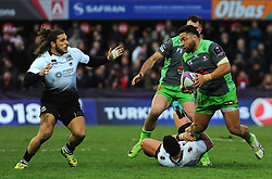 David Halaifonua of Gloucester Rugby is tackled by Faialaga Afamasaga of Zebre Rugby Club -Mandatory by-line: Nizaam Jones/JMP- 16/12/2017 - RUGBY - Kingsholm - Gloucester, England - Gloucester Rugby v Zebre Rugby Club- European Rugby Challenge Cup